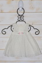 Little White Dress for Babies with Rosettes