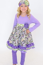 Serendipity Love Life Wear Purple Dress Outfit (Size 9Mos)