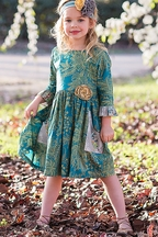 Loving Deer Teal Dress for Girls (Size 12Mos to 3T)