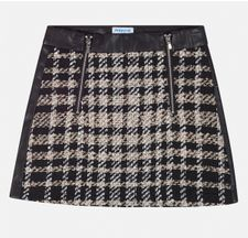 Mayoral Black and Gold Checkered Tween Skirt (8,10,14)