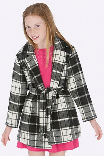 Mayoral Black Checkered Coat (10 & 12)