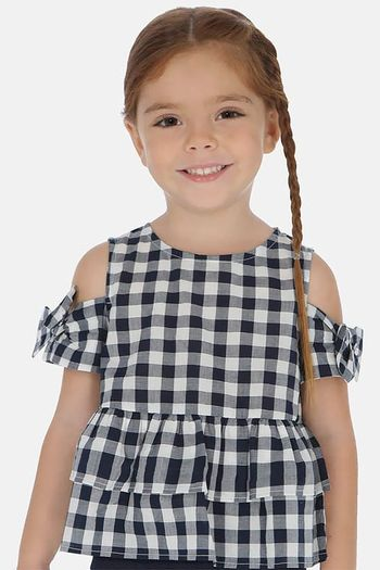 Mayoral Black Gingham Girls Top (Sizes 2 to 8)