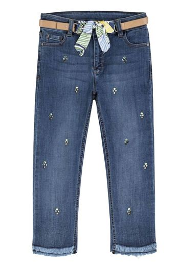 Mayoral Denim Capri with Sequin Belt (8 & 12)