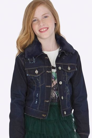 Mayoral Denim Jacket Faux Fur Collar (8 & 12)