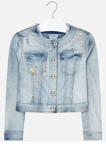 Mayoral Denim Jacket with Gold Stars (Size 14)