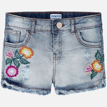 Mayoral Denim Shorts With Embroidered Flowers (8,12, 14)