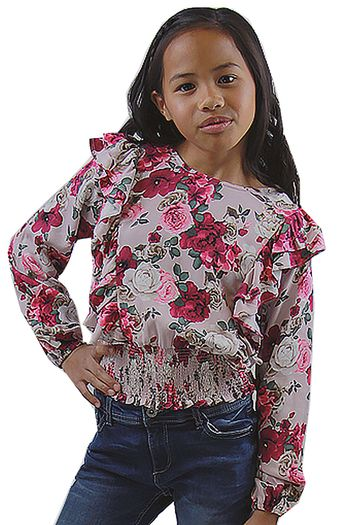 Mayoral Floral Top with Ruffled Front (8,10,12,14)
