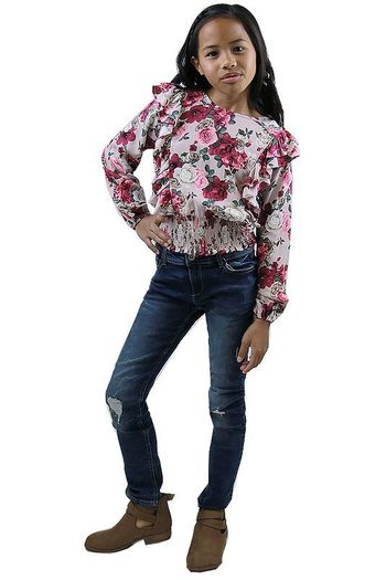 Mayoral Floral Top with Ruffled Front (8,10,12)