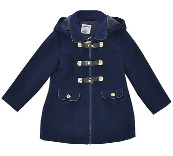 Mayoral Girls Navy Winter Trench Coat (Size 7)