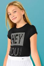 Mayoral Hey You Black Tee (Size 10)