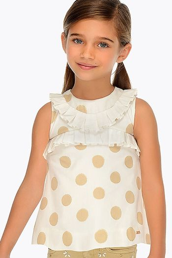 Mayoral Ivory and Gold Polka Dot Top (Size 2)