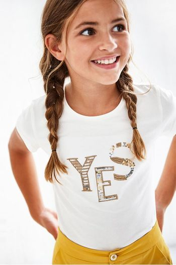 Mayoral Ivory Sequin Tee Yes (8 & 12)