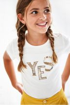 Mayoral Ivory Sequin Tee Yes (Size 8)