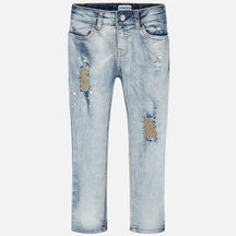 Mayoral Jeans Light Wash with Gold Pearls (10 & 14)