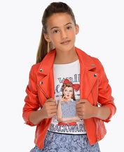 Mayoral Leatherette Jacket Orange (8 & 12)