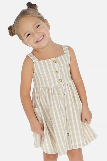 Mayoral Linen Dress in White & Tan Stripes (Sizes 2 to 8)