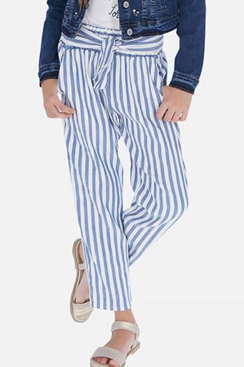 Mayoral Linen Stripe Pants in Blue & White (Size 8)