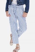 Mayoral Linen Stripe Pants in Blue & White (8,10,12,14)