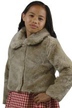 Mayoral Mocha Faux Fur Jacket (Size 12)