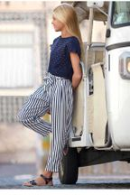 Mayoral Navy Stripe Pant for Tweens (8,10,12,14)