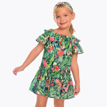 Mayoral Off The Shoulder Flamingo Dress (Size 8)