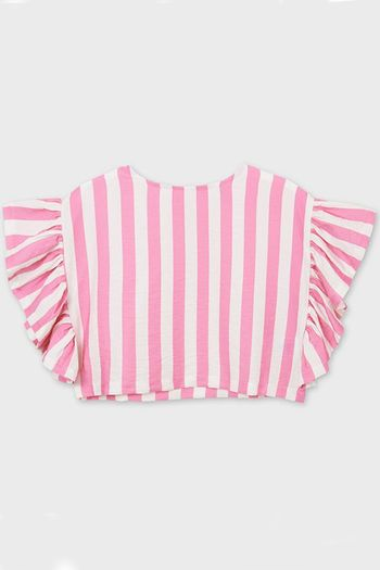 Mayoral Pink and White Stripe Top (8,10,14)