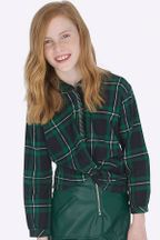 Mayoral Plaid Blouse Navy and Green (8 & 10)