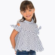 Mayoral Polka Dot Cold Shoulder Blouse (Sizes 2 to 8)