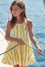 Mayoral Poplin Dress in Yellow & White Stripes (10 & 12)
