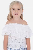 Mayoral Ruffled Blouse in White Eyelet (Size 2 to 8)
