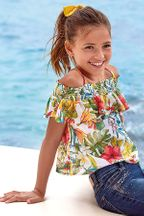 Mayoral Ruffled Blouse in Tropical Flowers (Size 10)