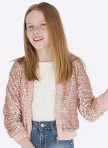 Mayoral Sequin Bomber Jacket Blush Tween (Size 10)
