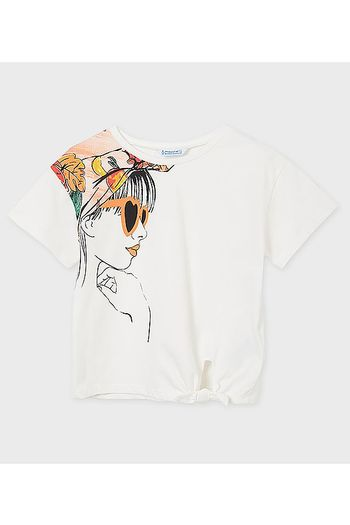 Mayoral Short Sleeve Top With Sunglass Girl