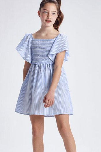 Mayoral Stripped Dress for Tweens in Blue