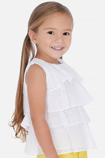 Mayoral Tiered Ruffle Top in White Eyelet (Size 2)