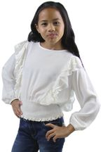 Mayoral White Tween Blouse Smocked Waist (8,10,12,14)