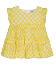 Mayoral Yellow Gingham Top (Sizes 2 to 8)