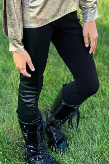 Mia New York Black Pleather Side Legging