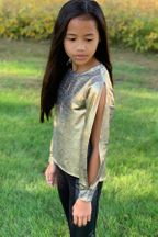 Mia New York Gold Metallic Tween Top