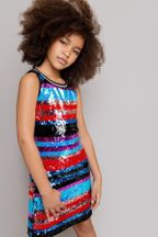 Mia New York Stripe Sequin Dress (Size LG 12)