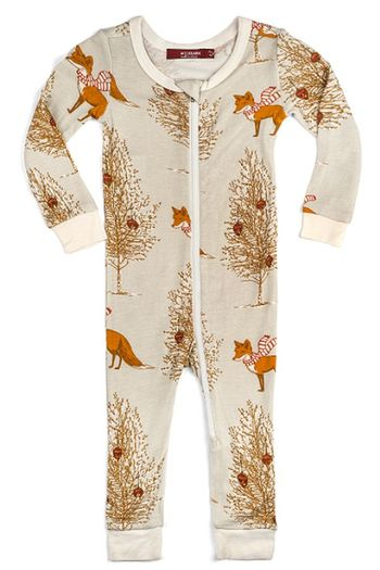 Milkbarn Christmas Fox Zipper Pajama