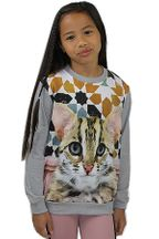 Molo Girls Cat Sweatshirt in Gray (4,6,8,10)