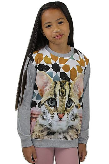 Molo Girls Cat Sweatshirt in Gray