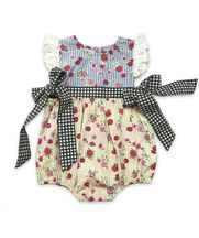 Mustard Pie Baby Romper Imogen Strawberry Field (6Mos,12Mos,2T,3T)
