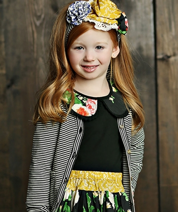Mustard Pie Black Floral Top Neve (Size 4T)