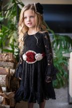 Mustard Pie Black Lace Dres Lizette (2T,4,6X)