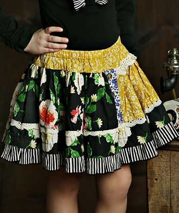 Mustard Pie Blue Floral Skirt (Size 4)