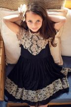 Mustard Pie Ellie Black Dress with Lace (Size 4)