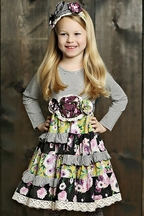 Mustard Pie Fall Girls Dress Floral (Size 2T)