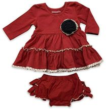 Mustard Pie Red Christmas Dress Lucy (NB,6Mos,18Mos)